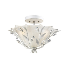 Semi-Flushmount Light in Antique White Finish