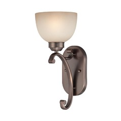 Sconce Wall Light in Harvard Court Bronze Finish - French Scavo Glass