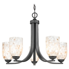 Design Classics Lighting Chandelier with Mosaic Glass in Matte Black Finish 584-07 GL1026D