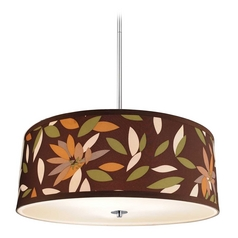 Polished Chrome Drum Pendant Light with Floral Print Shade