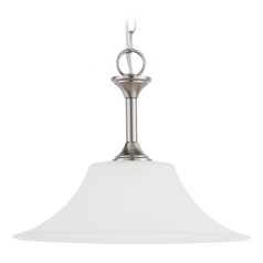 Pendant Light with White Glass in Brushed Nickel Finish