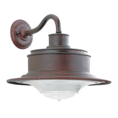 Outdoor Wall Light with White Glass in Old Rust Finish