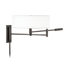 Modern Pin-Up Lamp with White Shade in Black Brass Finish