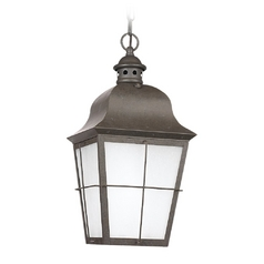 Outdoor Hanging Light with White Glass in Oxidized Bronze Finish