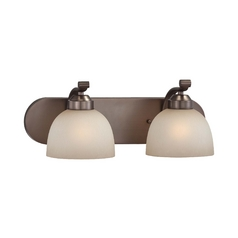 2-Lt Bathroom Light in Harvard Court Bronze Finish - French Scavo Glass