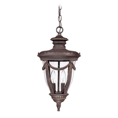 Outdoor Hanging Light with Clear Glass in Belgium Bronze Finish