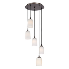 Design Classics Lighting Multi-Light Pendant with Tapered Cylinder White Glass and Five-Lights 580-220 GL1027