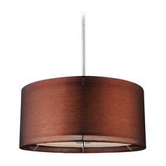 Design Classics Lighting Modern Chrome Drum Pendant Light with Copper Shade DCL 6528-26 SH7450  KIT