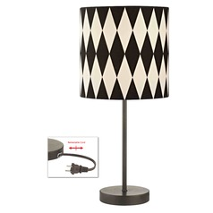 Bronze Drum Table Lamp with Harlequin Patterned Shade