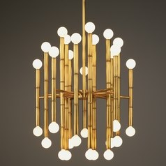 Robert Abbey Jonathan Adler Meurice 30-Light Chandelier in Antique Natural Brass