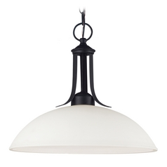 Pendant Light with White Glass in Blacksmith Finish