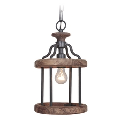 Jeremiah Lighting Ashwood Textured Black / Whiskey Barrel Mini-Pendant Light