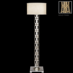 Fine Art Lamps Allegretto Gold Burnished Gold Leaf with Subtle Brown Highlights Floor Lamp with Drum