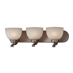 3-lt Bathroom Light in Harvard Court Bronze Finish - French Scavo Glass