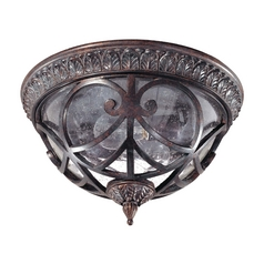 Close To Ceiling Light with Clear Glass in Dark Plum Bronze Finish