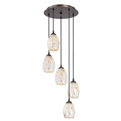 Mosaic Glass Multi-Light Pendant with Five Lights
