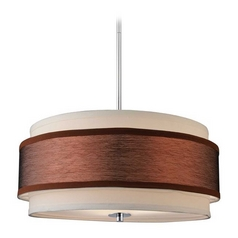 Design Classics Lighting Modern Chrome Drum Pendant Light with Two Shades DCL 6528-26 SH7452  KIT
