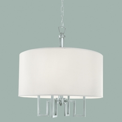 Norwell Lighting Maya Brush Nickel Pendant Light with Drum Shade