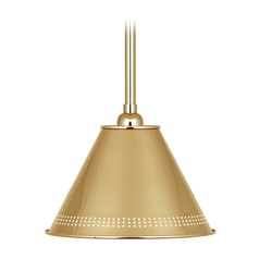 Robert Abbey Jonathan Adler St. Germain Polished Brass Pendant Light with Conical Shade