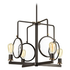 Farmhouse Industrial Chandelier Bronze Looking Glass by Progress Lighting