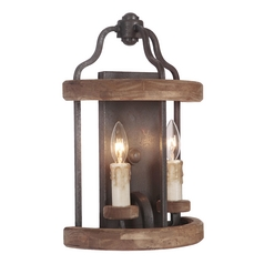 Jeremiah Lighting Ashwood Textured Black / Whiskey Barrel Sconce