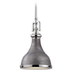 Farmhouse Mini-Pendant Light Polished Nickel / Zinc Rutherford by Elk Lighting