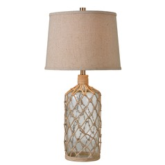Kenroy Home Captain Clear with Rope Accents Table Lamp with Empire Shade