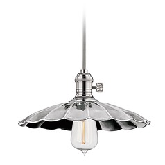 Heirloom Polished Nickel Mini-Pendant Light with Bowl Shade