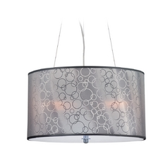 Modern Drum Pendant Light with Grey Acrylic Shade in Chrome Finish