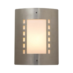 Modern Outdoor Wall Light with White Glass in Satin Nickel Finish