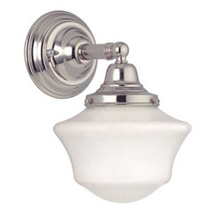 Design Classics Lighting Schoolhouse Sconce in Polished Nickel WC1-15 / GC6