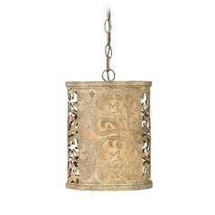 Fredrick Ramond Carabel Brushed Champagne Mini-Pendant Light with Cylindrical Shade