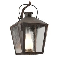 Clear Seeded / Frosted Chimney Glass Outdoor Wall Light Iron Troy Lighting