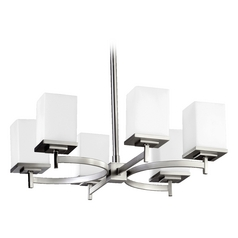 Modern Chandelier Satin Nickel Delta by Quorum Lighting