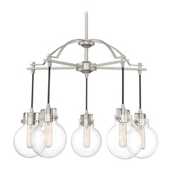 Mid-Century Modern Chandelier Brushed Nickel Sidwell by Quoizel Lighting