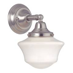 Schoolhouse Sconce in Satin Nickel Finish