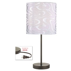 Table Lamp with Silver Patterned Drum Shade