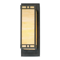 Progress Sconce Wall Light with Art Glass in Weathered Bronze Finish