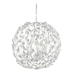 Crystal Pendant Light in Antique White Finish