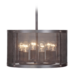 Jeremiah Lighting Blacksmith Matte Black Gilded Pendant Light with Drum Shade