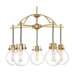 Mid-Century Modern Chandelier Brass Sidwell by Quoizel Lighting