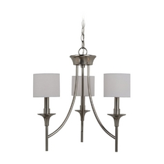 Mini-Chandelier with White Shades in Brushed Nickel Finish