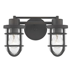 Seeded Glass Vanity Light with Bronze Cage 2 Lt