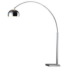 Modern Swing Arm Lamp in Silver Plated and White Marble Finish