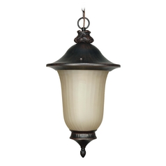 Outdoor Hanging Light with Beige / Cream Glass in Old Penny Bronze Finish
