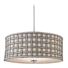 Contemporary Drum Pendant Light with Criss-Cross Shade