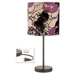 Bronze Table Lamp with with Flower Print Drum Shade