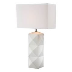 Lite Source Lighting Robena White Table Lamp with Rectangle Shade