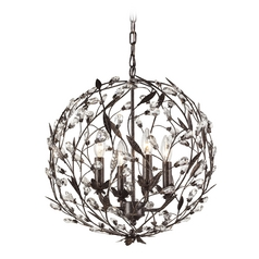 Crystal Pendant Light in Deep Rust Finish