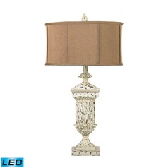Dimond Lighting Distressed White LED Table Lamp with Drum Shade